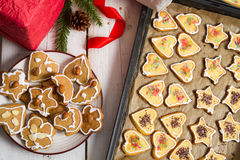 Cookies and gifts for the holidays stock photos