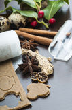 Cookies and ginger dough. Ginger Dough and cookies with spices close up stock photography