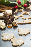 Cookies and ginger dough. Ginger Dough and cookies with spices close up stock images
