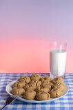 Cookies and Glass of Milk. Peanut butter and chocolate cookies with a glass of milk on a blue checked cloth stock photography