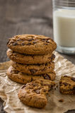 Cookies with a glass of milk Stock Photos