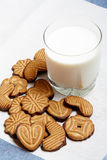 Cookies  and  glass of milk. Selective focus on cookies Royalty Free Stock Photos