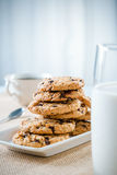 Cookies, glass of milk and tea/coffee Royalty Free Stock Photo