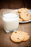 Cookies and glass milk Royalty Free Stock Photos
