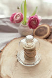 Cookies in a glass vase. On a wooden stump in a closed glass vase stack of cookies Stock Photos