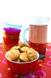 Cookies, glasses and carafe with lemonade Royalty Free Stock Images