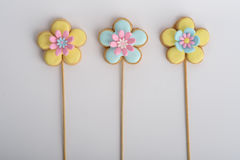 Cookies with glaze in the form of flowers. Royalty Free Stock Photos