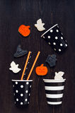Cookies for Halloween party on the black table Royalty Free Stock Photos