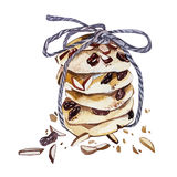 Cookies hand-drawn watercolor illustration isolated on white background. Menu design Royalty Free Stock Photos