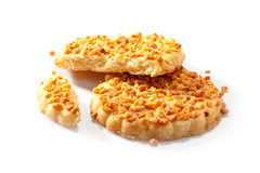Cookies with hazelnuts crumb close-up Royalty Free Stock Image