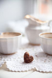 Cookies heart, bright cups and milk jug, valentines day, love, l Stock Image