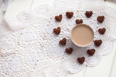 Cookies heart, bright cups, valentines day, love, light backgrou Royalty Free Stock Photos