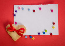 Cookies-heart, empty card and  colorfull buttons Stock Photos