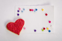 Cookies-heart, empty card and colorfull buttons Royalty Free Stock Images