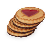 Cookies with a heart of jelly Stock Photo
