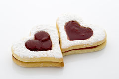 Cookies on  the heart shape isolated on the white background. Royalty Free Stock Photo