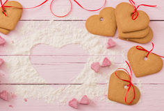 Cookies heart on  wooden background Royalty Free Stock Photo
