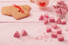 Cookies heart on  wooden background Stock Photography