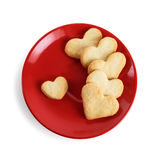 Cookies-hearts in a red plate Stock Photo