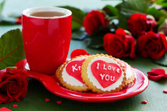 Cookies with hearts and roses for Valentine's Day. Royalty Free Stock Image