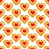 Cookies hearts seamless pattern Royalty Free Stock Photos