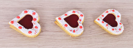Cookies hearts  on  wood table . Stock Photos