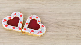 Cookies hearts  on  wood table . Stock Image