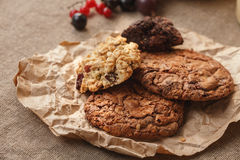 Cookies. Homemade chocolate chip, oatmeal and muesli cookies. Sweet food Royalty Free Stock Images