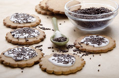 Cookies with icing and chocolate sprinkle Royalty Free Stock Photo