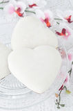 Cookies with icing in the form of heart on a glass base, selecti Stock Image