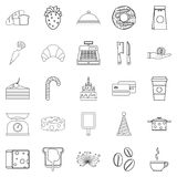 Cookies icons set, outline style Stock Photo