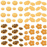 Cookies  illustration cake isolated on white Assortment of nine delicious cookies of various shape and taste. Stock Images