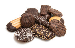 Cookies In Chocolate Isolated Stock Photography
