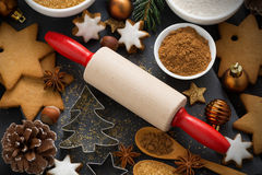 Cookies and ingredients for Christmas baking, top view Royalty Free Stock Photo
