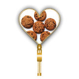 Cookies inside an abstract heart shape. Opening heart created from golden fastener and filled with cookies texture, on white background stock photos