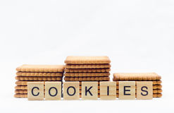 Cookies isolated on a white background with text Stock Photo