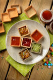 Cookies with jam and assorted flavors Stock Photo