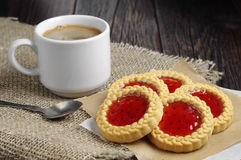 Cookies with jam and coffee Stock Images