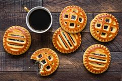 Cookies with jam and cup of coffee Stock Image