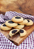 Cookies with jam filling center Stock Photo