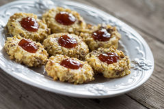 Cookies with jam on a plate Stock Image