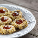 Cookies with jam on a plate Royalty Free Stock Photo