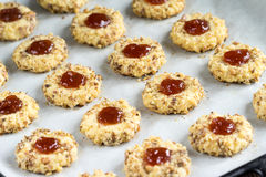 Cookies with jam and spoon Royalty Free Stock Photography