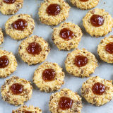 Cookies with jam and spoon Stock Photography