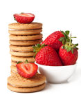 Cookies with jam and strawberry Royalty Free Stock Images