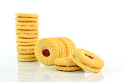 Cookies with jam on white background Royalty Free Stock Photos