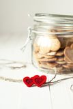 Cookies in the Jar Decorated with Hearts Royalty Free Stock Image