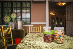 Cookies in jar. Some cookies in jar on table Royalty Free Stock Photography