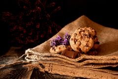 Cookies on jute bag. stock photo