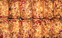Cookies laid out on the table. Shortbread cookies with cherry jam. royalty free stock image
